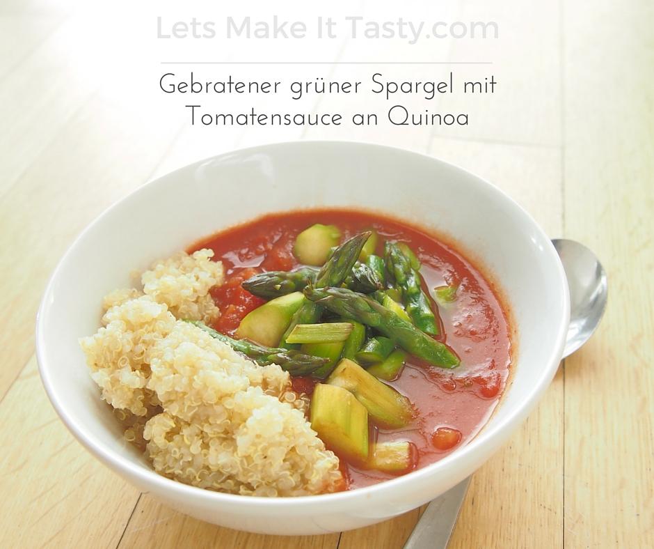 Gebratener gruener Spargel mit Tomatensauce an Quinoa