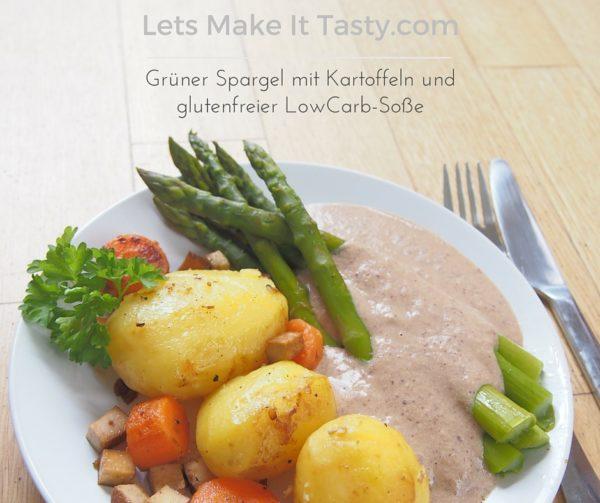 Grüner Spargel mit Kartoffeln und glutenfreier LowCarb-Soße